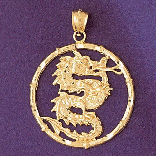 Dragon chinese zodiac charm bracelet or pendant necklace in 14k gold dragon chinese zodiac pendant necklace charm bracelet in gold or silver 9307 aloadofball Choice Image