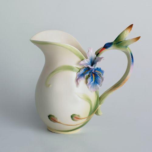 Franz Porcelain Long Tail Hummingbird Pitcher Fz00712 Homebello