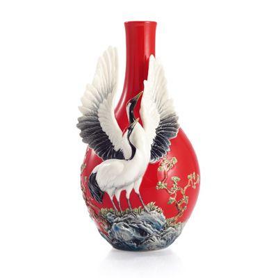 Franz Porcelain Longevity Crane Design Sculptured Porcelain Small