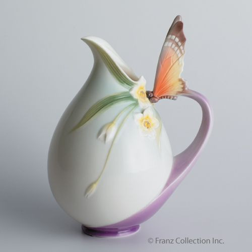 Franz Porcelain Papillon Butterfly Vase Pitcher Fz00770 Upc