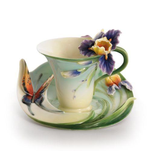 Franz Porcelain Question Mark Butterfly Cup Saucer Set