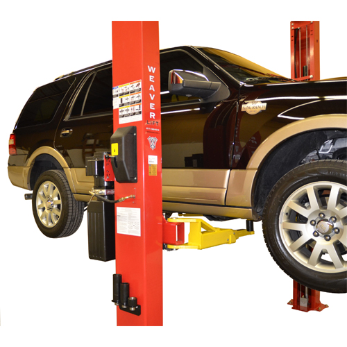 Power Side Column with Single Point Lock Release, ALI Graphic Safety Decals and Storage for Height Adapters (on both columns).