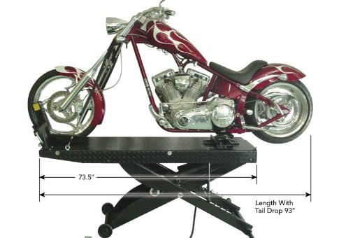 Direct-Lift Pro-Cycle Droptail Motorcycle Lift with Dimensions