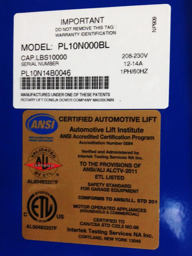 Certified Gold Label & Manufacturers ID Label
