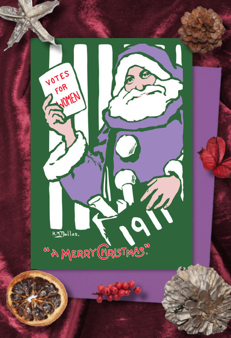 Purple Santa Votes for Women Christmas cards pack of 8