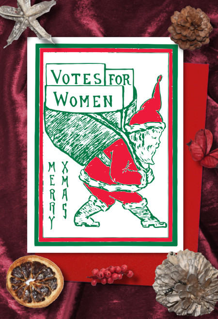 Red Santa Votes for Women Christmas cards pack of 8