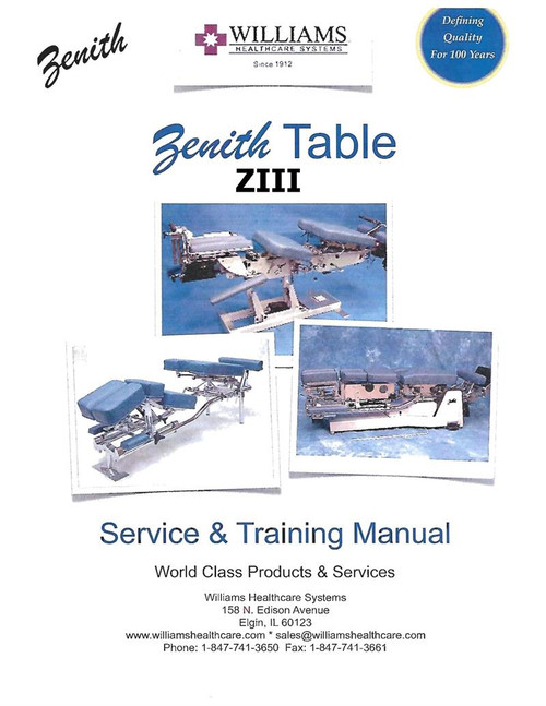 Zenith Ii Chiropractic Table Service Amp Instruction Manual