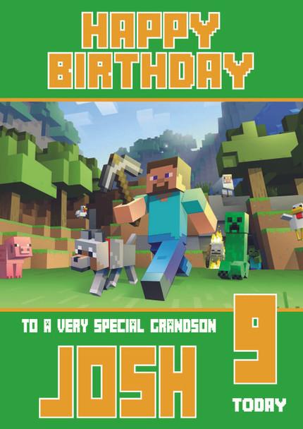 Minecrafting Theme Grandson Birthday Card