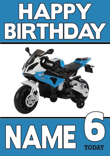 Personalised Bmw Bike Birthday Card Celebrity Facemasks