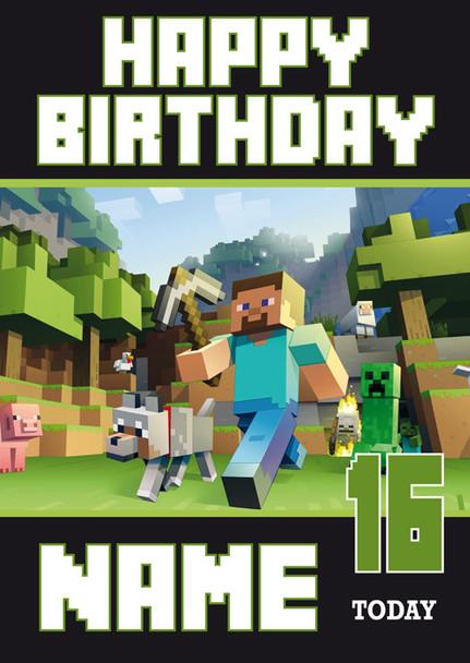 Minecraft New Design 1 Personalised Birthday Card