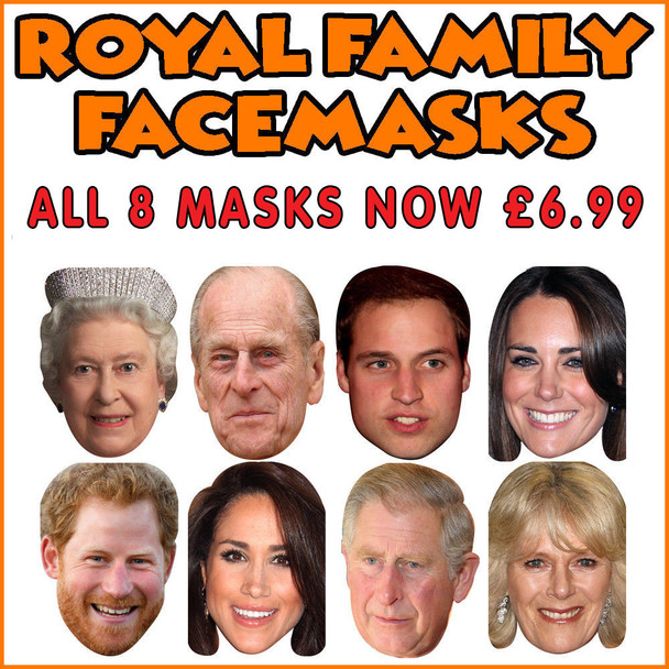 Full Set of 8 masks - Royal Family Wedding Party Jubilee Harry Meghan