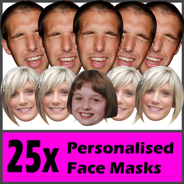 25 X Personalised Face Masks Stag | Hen | Birthday | Wedding
