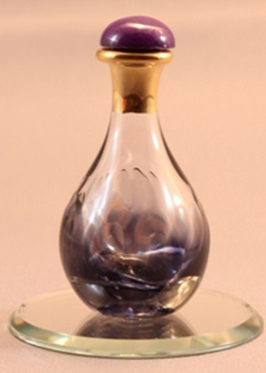 """Violet Marble Contemporary Tear Bottle - pictured with Optional 2"""" Beveled Mirror - Sold Separately"""