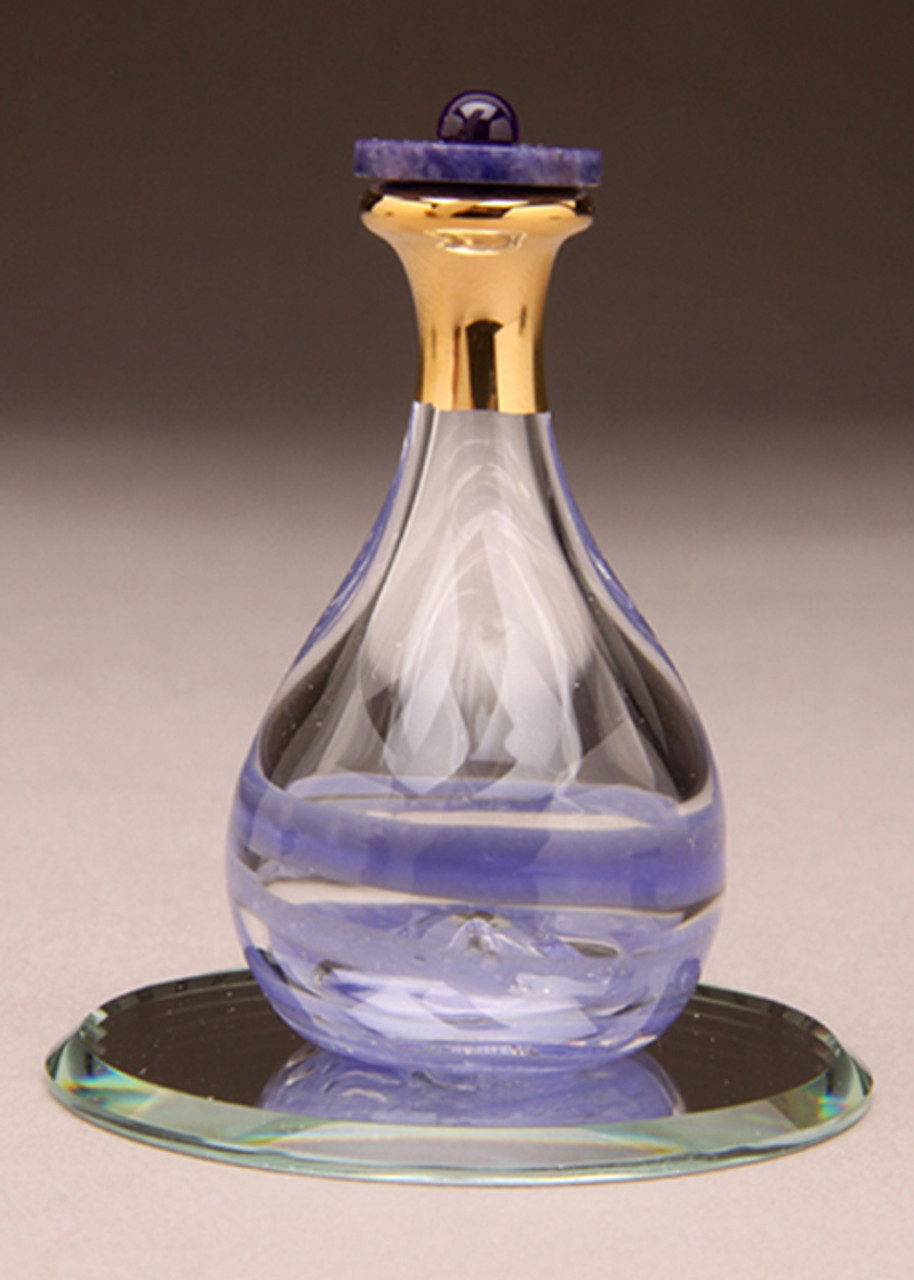 """Amethyst Contemporary Tear Bottle - pictured with Optional 2"""" Beveled Mirror - Sold Separately"""