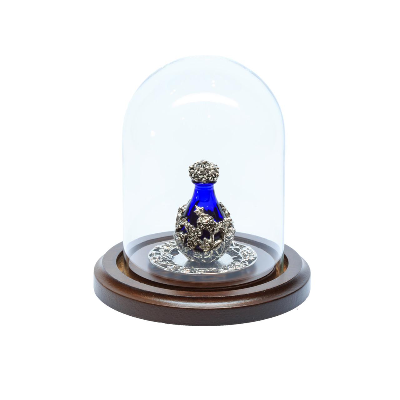 """Glass Maxi Dome with Walnut Base - 3"""" D x 4"""" H - shown with Optional Silver with Blue Glass Victorian Tear Bottle and with Optional 2"""" Silver Tray with Filigree Rim - Both Sold Separately"""