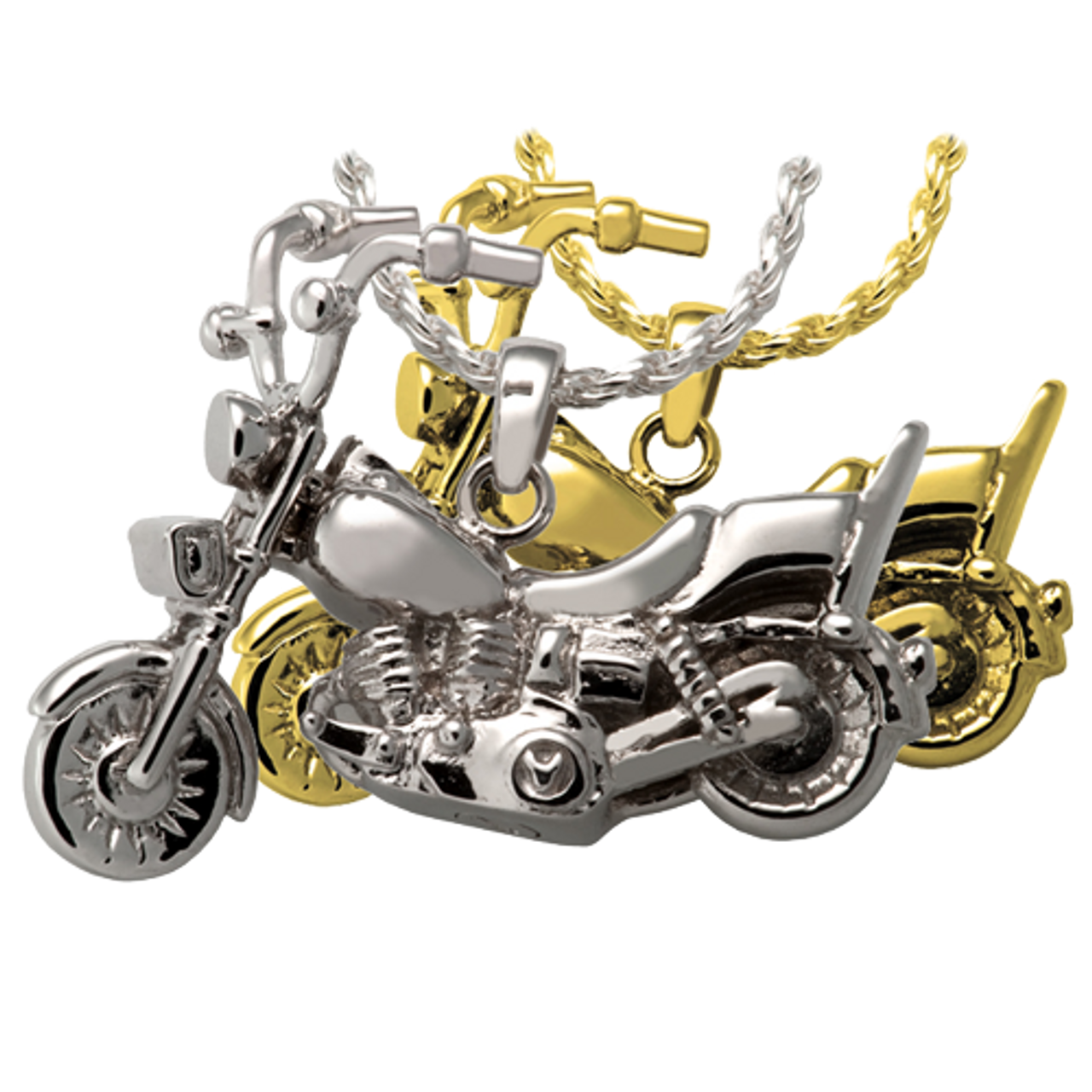Motorcycle - Sterling Silver with Sterling Silver Rope Chain - Sold Separately Motorcycle - Gold Plated over Sterling Silver with Gold Filled Rope Chain - Sold Separately