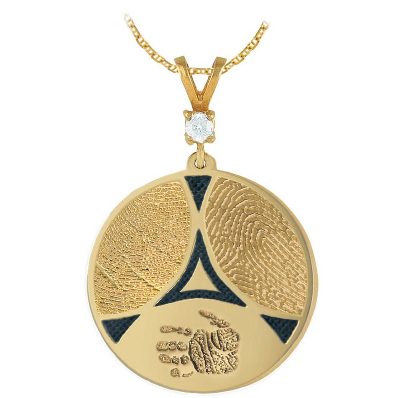 Family Ties 3 in 14k Yellow Gold with 3 Fingerprints, and 1-Stone Bail