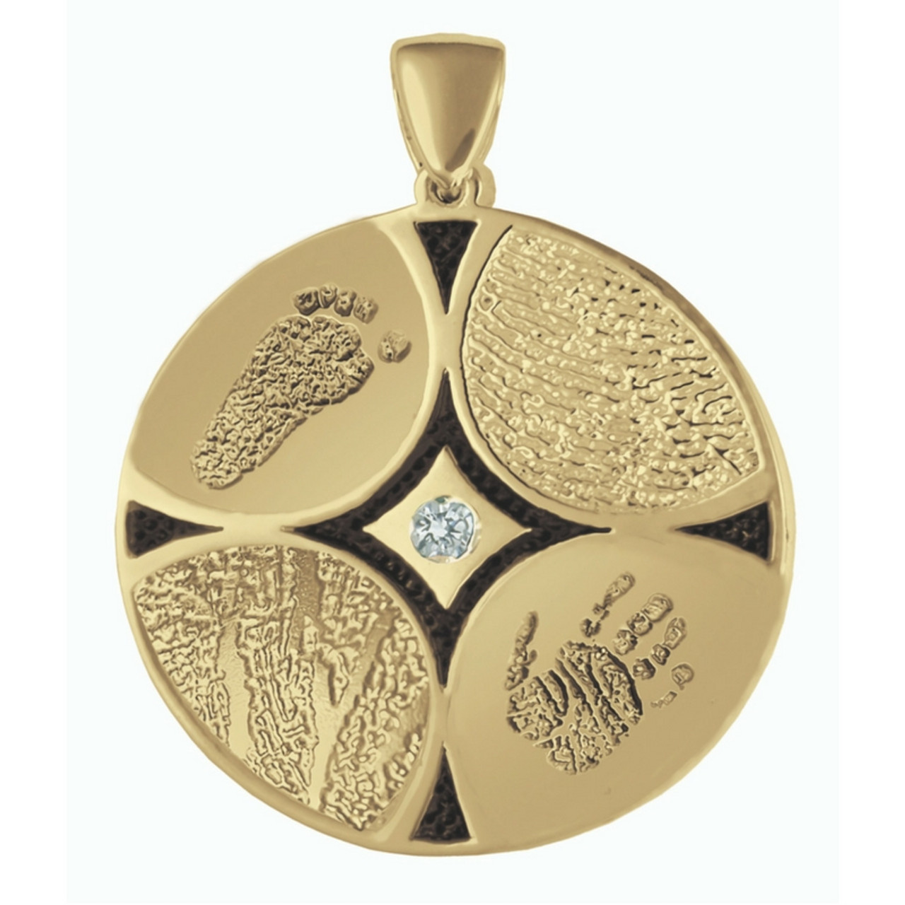 Family Ties 4 in 14k Yellow Gold with 4 Fingerprints and Center Stone