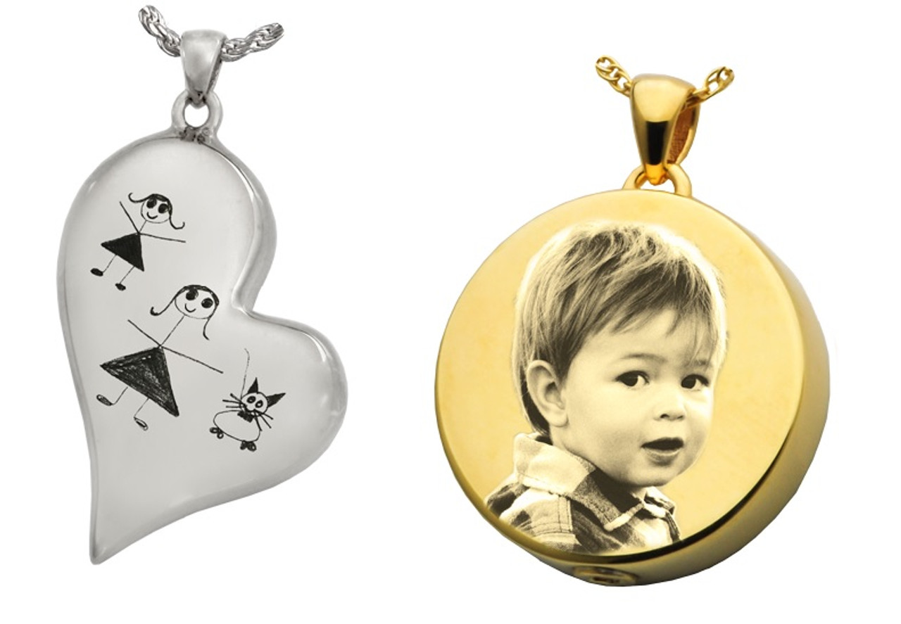 Engraving for Teardrop Heart and Round Pendants