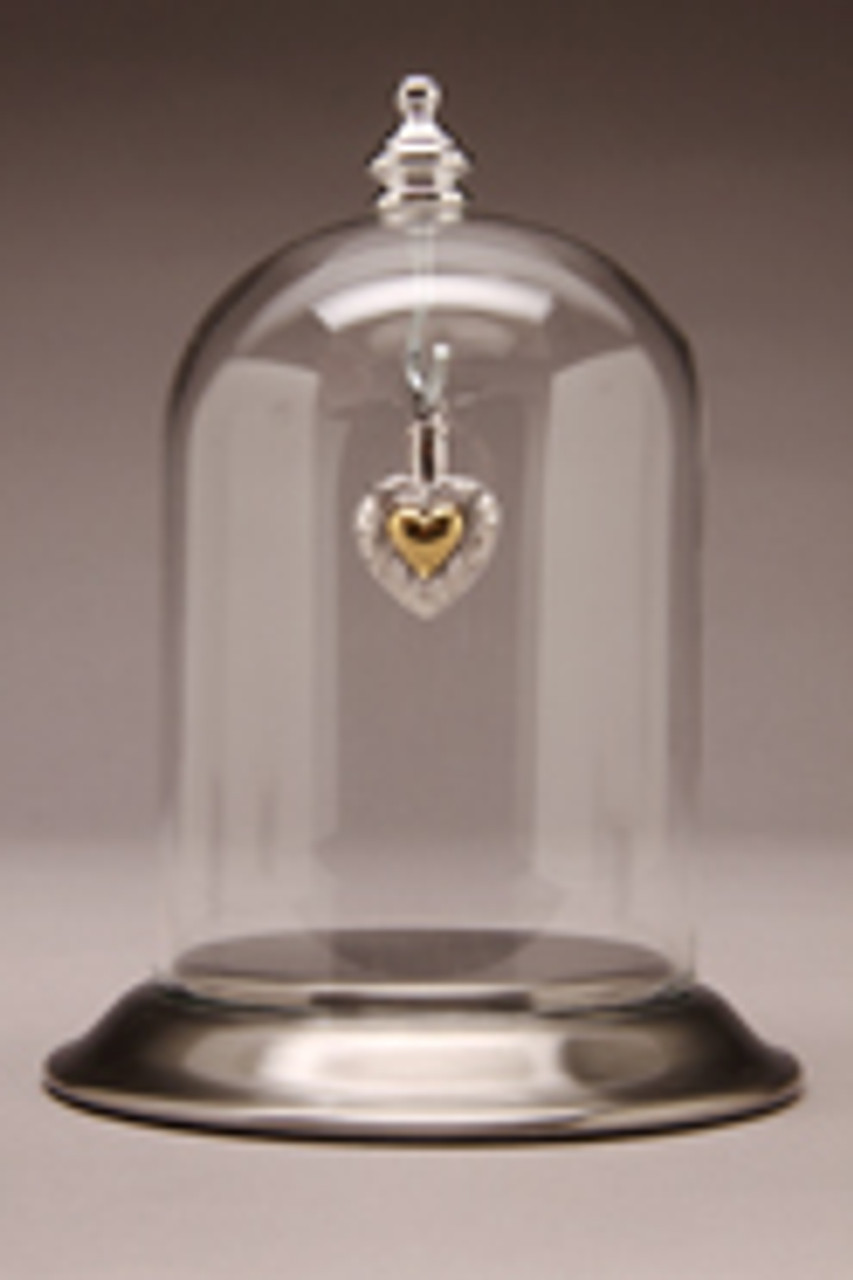 """Glass Maxi Dome with Pewter Satin Base - 3"""" D x 4"""" H"""