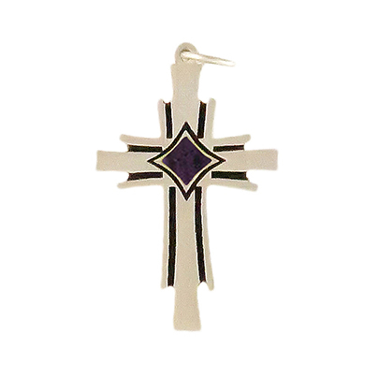 Phoenix Cross Charm with Blue Cremation Well