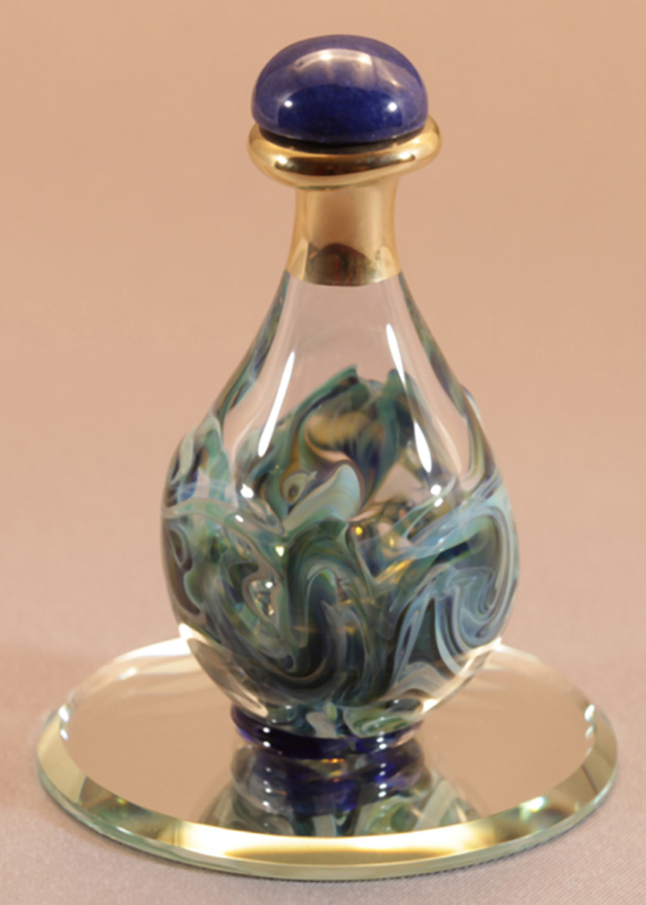 """Blue Marble Contemporary Tear Bottle - pictured with Optional 2"""" Beveled Mirror - Sold Separately"""