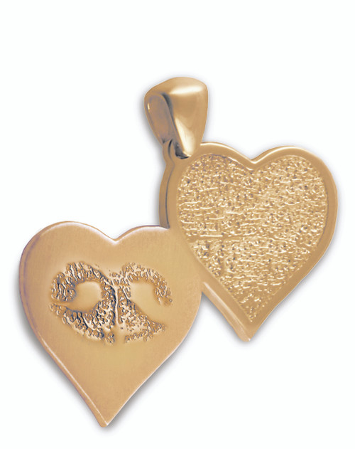 Double HeartFelt Charm in 14k Gold with Finger Print and Nose Print