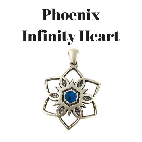 Phoenix Infinity Heart in Sterling Silver with Blue Cremation Well
