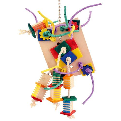 Agabus Wood, Rope & Leather Parrot Toy - Medium