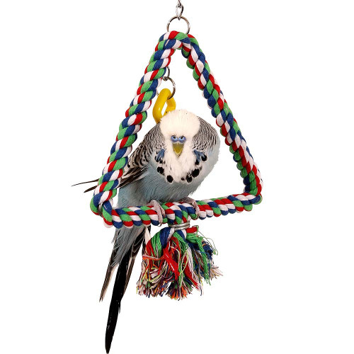 Cotton Triangle Swinging Parrot Perch & Toy - Small