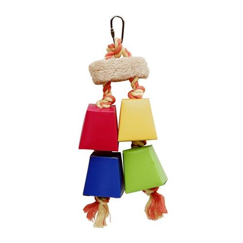 Living World Festive Favors - Rope - Wood & Paper Parrot Toy - 28 cm