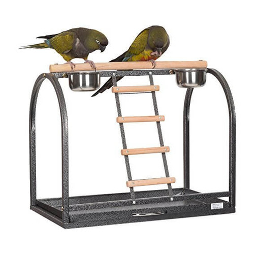 Tabletop Parrot Playstand with Feeders - Large