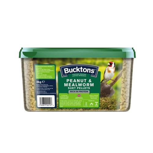 Bucktons Peanut & Mealworm Suet Pellets 12.55Kg
