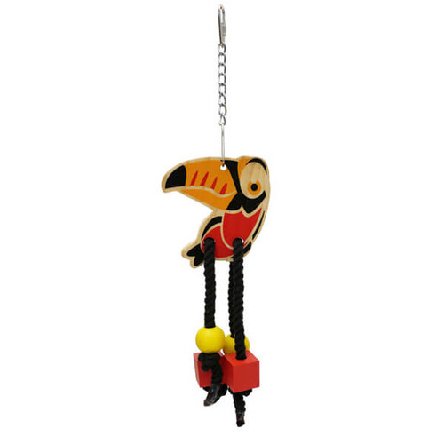 Birdie Wooden Chew & Shred Dangler Parrot Toy