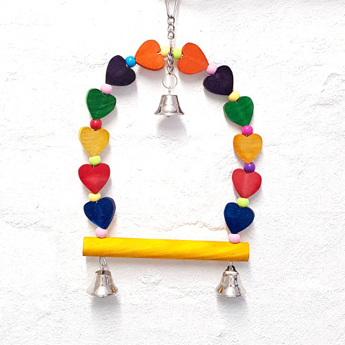 Swinging Hearts & Bells Colourful Parrot Toy