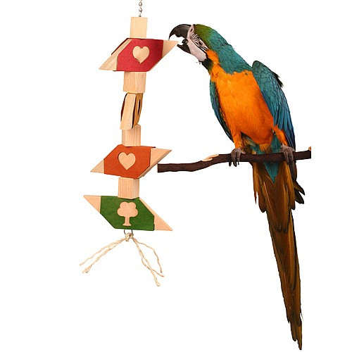 I Love To Chew - Large Wooden Chew Toy for Parrots