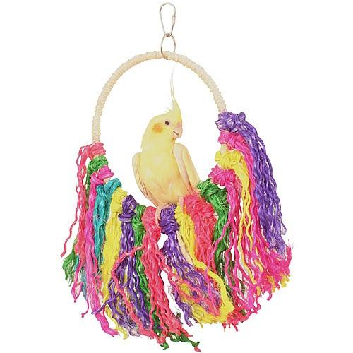 Rainbow Sisal Preening Rope Swing Toy