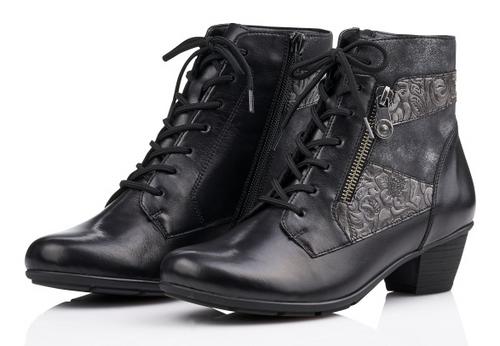 GRANNY BOOT FLORAL LACE BLACK R7570-02