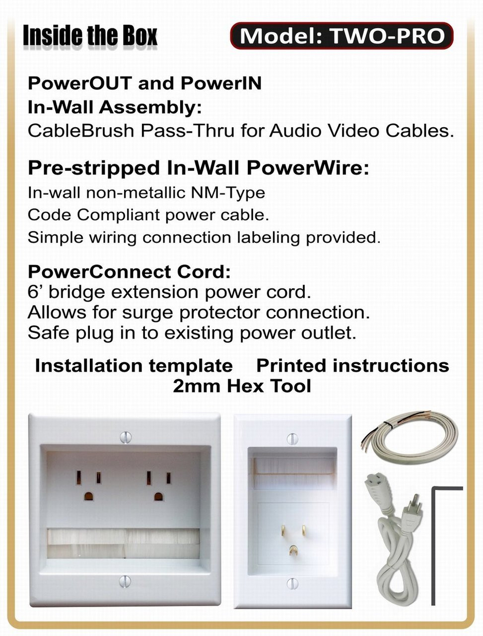 PowerBridge TWO-PRO-6 Cable Management System with Dual Power for ...