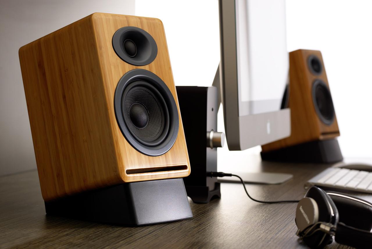 Audioengine P4 Passive Bookshelf Speakers With Natural Bamboo Pair
