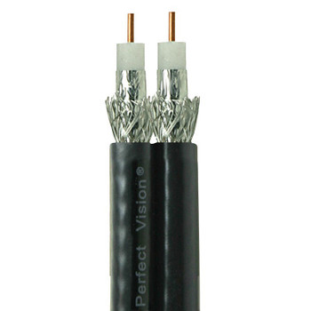 Perfect Vision Dual RG6 Coax, Solid Copper,  DIRECTV Approved,  Black, 500ft