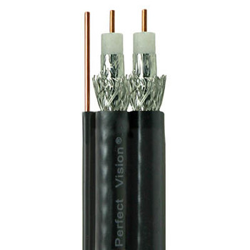 Perfect Vision Dual RG6 Coax with Ground, Solid Copper, DIRECTV Approved, Black, 500ft