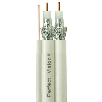 Perfect Vision Dual RG6 Coax with Ground, Solid Copper, DIRECTV Approved, White, 500ft