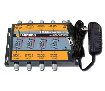 Sonora LAL204a-T 4 LNB Auto-Gain DBS/ATSC Amplifier with Power Supply
