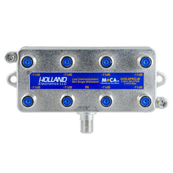 Holland Electronics GHS-8PRO-M MoCA Rated 8-Way CATV Splitter MSO approved for Cable TV internet over coax