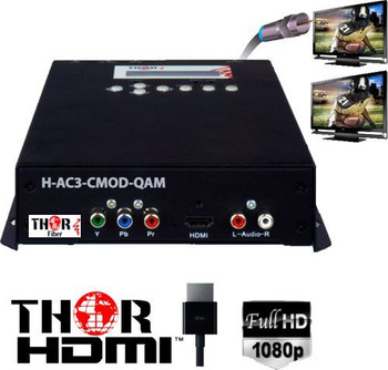 Thor H-AC3-CMOD-QAM 1-Channel Compact HDMI to QAM Encoder Modulator with Dolby AC3 - HDCP compliant
