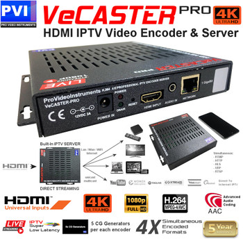 ProVideoInstruments VeCASTER-4K-UHD Professional Single Channel 4k UHD IPTV Encoder