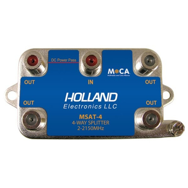 Holland Electronics MSAT-4 MoCA 4-Way Splitter DIRECTV Approved