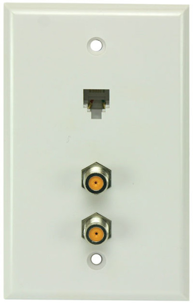 Perfect Vision White Wall Plate with Dual HF Coaxial F-81 and Phone Jack