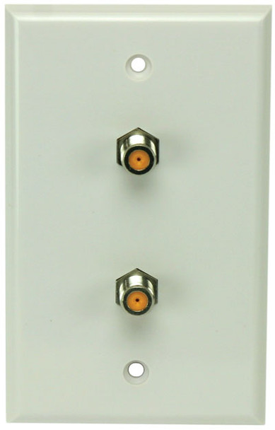 Perfect Vision WPDNPWSC-05 White Wall Plate with Dual 3GHz F-81 Coax Connectors